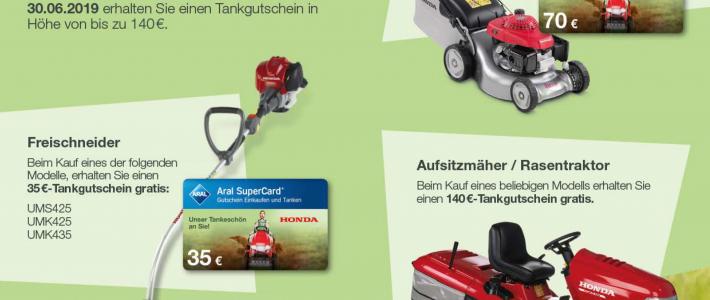 Honda Gartengeräte kaufen – Tankgutschein bis € 140,- gratis dazu !